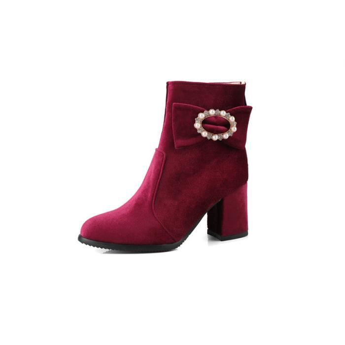 Chaussures Faux Suede Zipper Up Chunky Talons Glitter Bottines Twb0103 IXHKE Taille-38 KaZsW