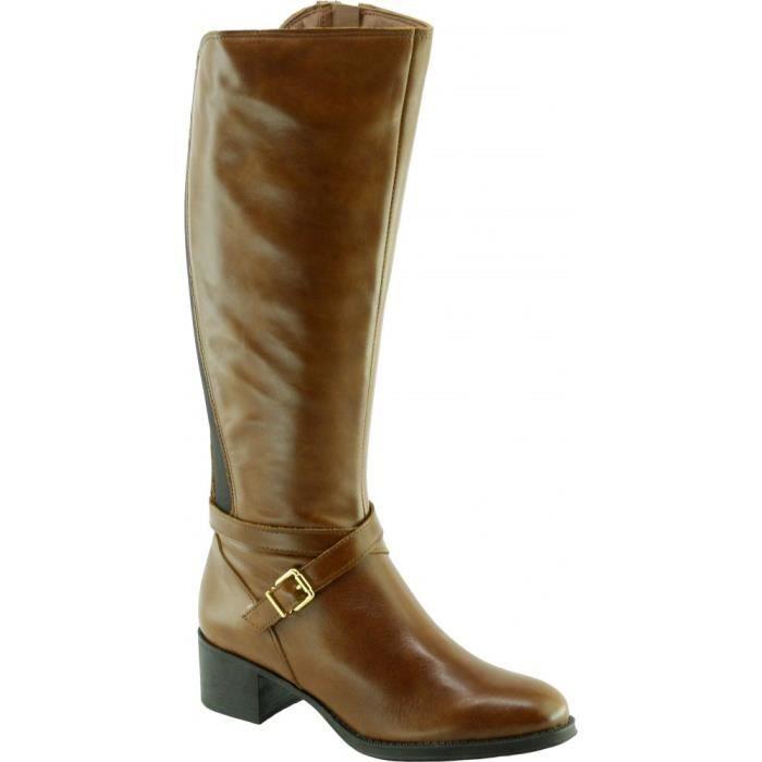 HIBOU - Bottes cavalières talons épais et brides déco marque Angelina chaussures Femme fabriquée en Espagne cuir marron cuero