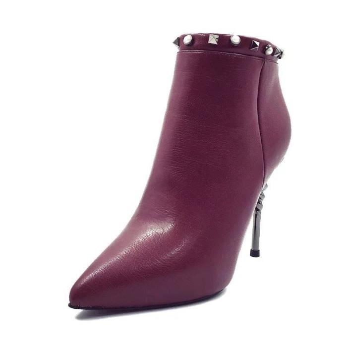 2017 printemps et en automne nouvelle pointe fine avec des femmes à talons hauts bottes Europe et les rivets glissière latérale