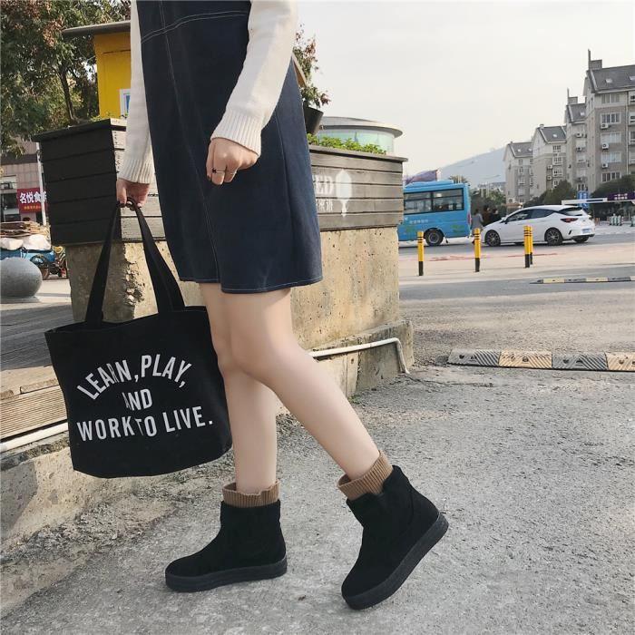 CUSSELEN Bottines Femme résistantes à l'usure Bottine Confortable Garde Au Chaud Coton Chaussure Haut qualité Adulte 07EPsj