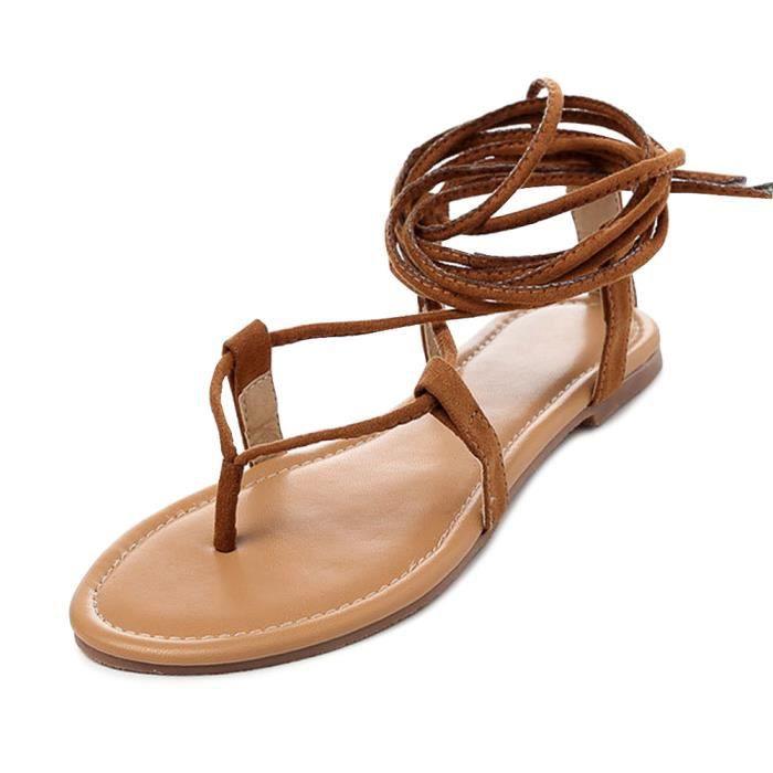 détaillant en ligne 0f9d0 14a33 Femme sandales plates romaines botte lacet au genou pour l ...