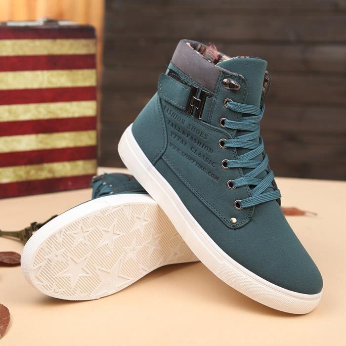 pour Napoulen®Mode Oxfords Vert bottes basket XYM71007901GN de Sneakers Loisirs hommes haut xH7q4w