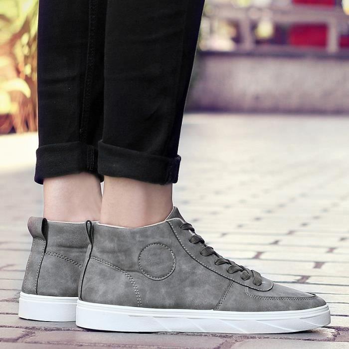Mode Automne Printemps Haut Baskets Homme Noir Nubuck Bottes en cuir Hip Hop Casual fond épais Plate-forme Chaussures de skate DOIUL