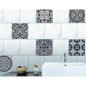PLAGE Sticker déco carrelage - Carreaux de ciment gris6 planches 15 x 15 cm