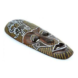 PLAQUE DE PORTE Masque Africain en bois 30cm motif Eléphants. Marr
