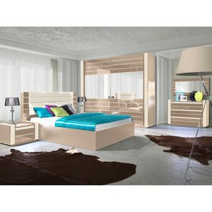 Chambre A Coucher Complete Lina Cappuccino Et Blanc Creme Laquee