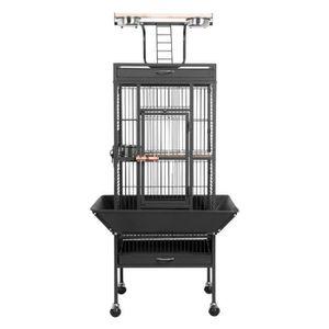 VOLIÈRE - CAGE OISEAU Grande Cage Perroquet Volière Oiseaux Métal Roulet