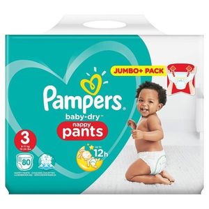 COUCHE Pampers Baby Dry Pants taille 3couches, avec des