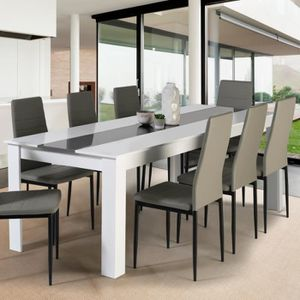 TABLE À MANGER SEULE Table à manger GEORGIA 8 personnes blanche et gris