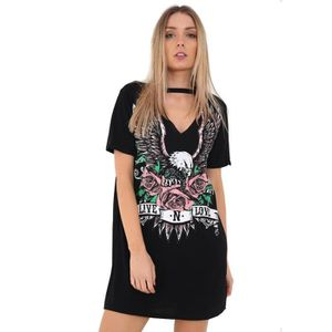 Women Vintage Rock Style Long T-Shirt Mini Dress Casual Party Holiday TShirt Top
