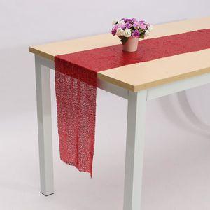 CHEMIN DE TABLE TEMPSA Rouge Satin Paillette Chemin de Table Décor