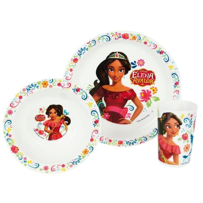 Fun House Disney elena d'avalor ensemble repas comprenant 1 assiette, 1 verre et 1 bol pour enfant
