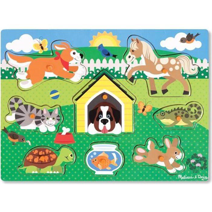 Puzzle En Bois à Boutons - Animaux Domestiques - Garçon et Fille - A partir de 2 ans - Livré à l'unitéPUZZLE