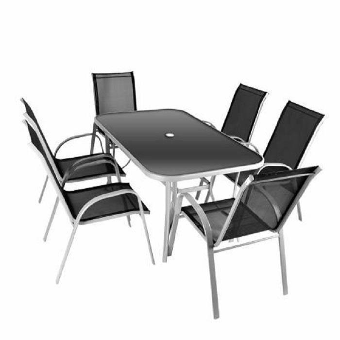 Salon de jardin 6 places en textilène table verre - Achat / Vente ...