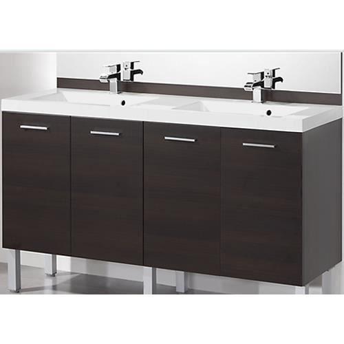 meuble vasque plan meuble sous plan aida wenge 140cm - Meuble Sous Vasque 140 Cm