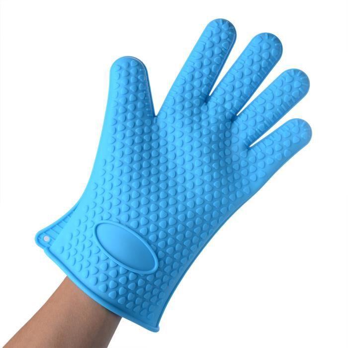 gant de cuisine silicone anti chaleur bleu achat vente gants de cuisine cdiscount. Black Bedroom Furniture Sets. Home Design Ideas