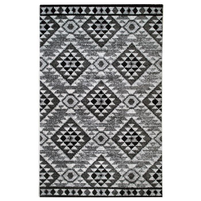 Tapis De Salon Ethnique Toscane Noir Gris Et Blanc 120x170cm