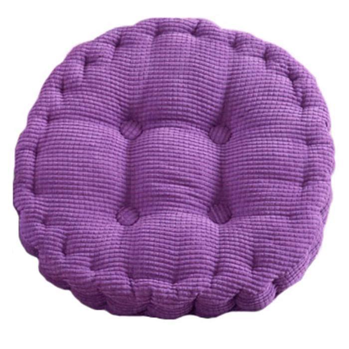 Coussin De Chaise Epais Rond Velour Cotele 45x45cm Couleur Violet