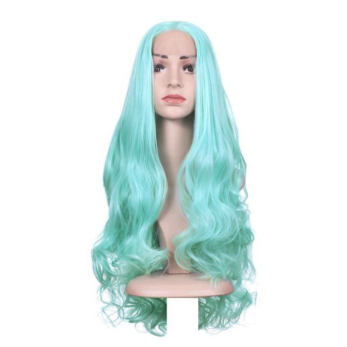 Perruque front lace bleu turquoise pastel