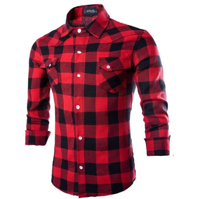 Chemise Homme Slim Fit Mode Vin Rouge Noir Chem... rouge - Achat ... cf9e6320301e