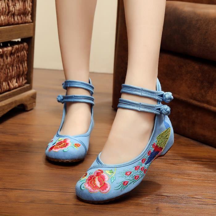 Chaussures en tissu Broderie pente avec casual ... vixD41Uwpb