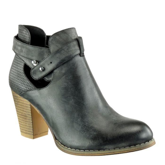 Angkorly - Chaussure Mode Bottine chelsea boots ouverte effet vieilli femme tréssé lanière clouté Talon haut bloc 8 CM - Noir -