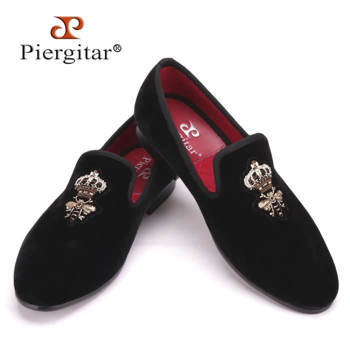 Marque Abeilles Designer Indian Silk Broderie Chaussures Homme Velvet Mode Hommes Mocassins mariage et Réceptions Homme Chaussures JPqNH9