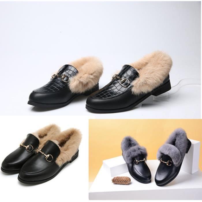 2017 automne et en hiver Nouveau motif boucle en métal peu profonde bouche à fond plat Concise en fausse fourrure femmes Chaussures