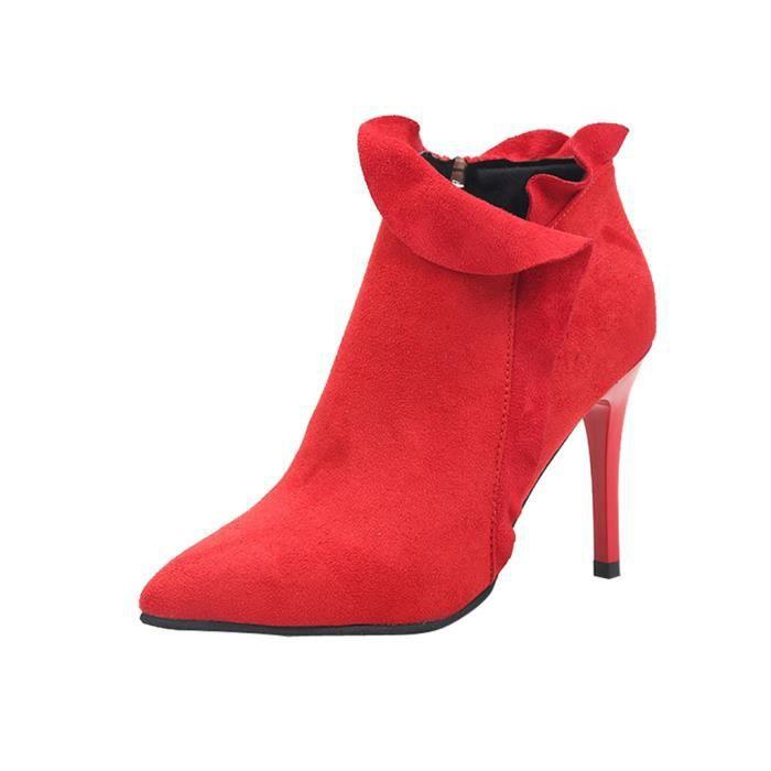 6581c4a29a7dc Bottes Talon Veberge Stiletto Femmes Sauvage Chaussures Latérale Sexy  Glissière Haut Nu 11903 À Volantée 7Aw0q6fE