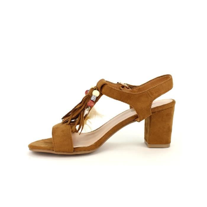 sandale - nu-pieds, Sandales Marron Chaussures Femme, Cendriyon