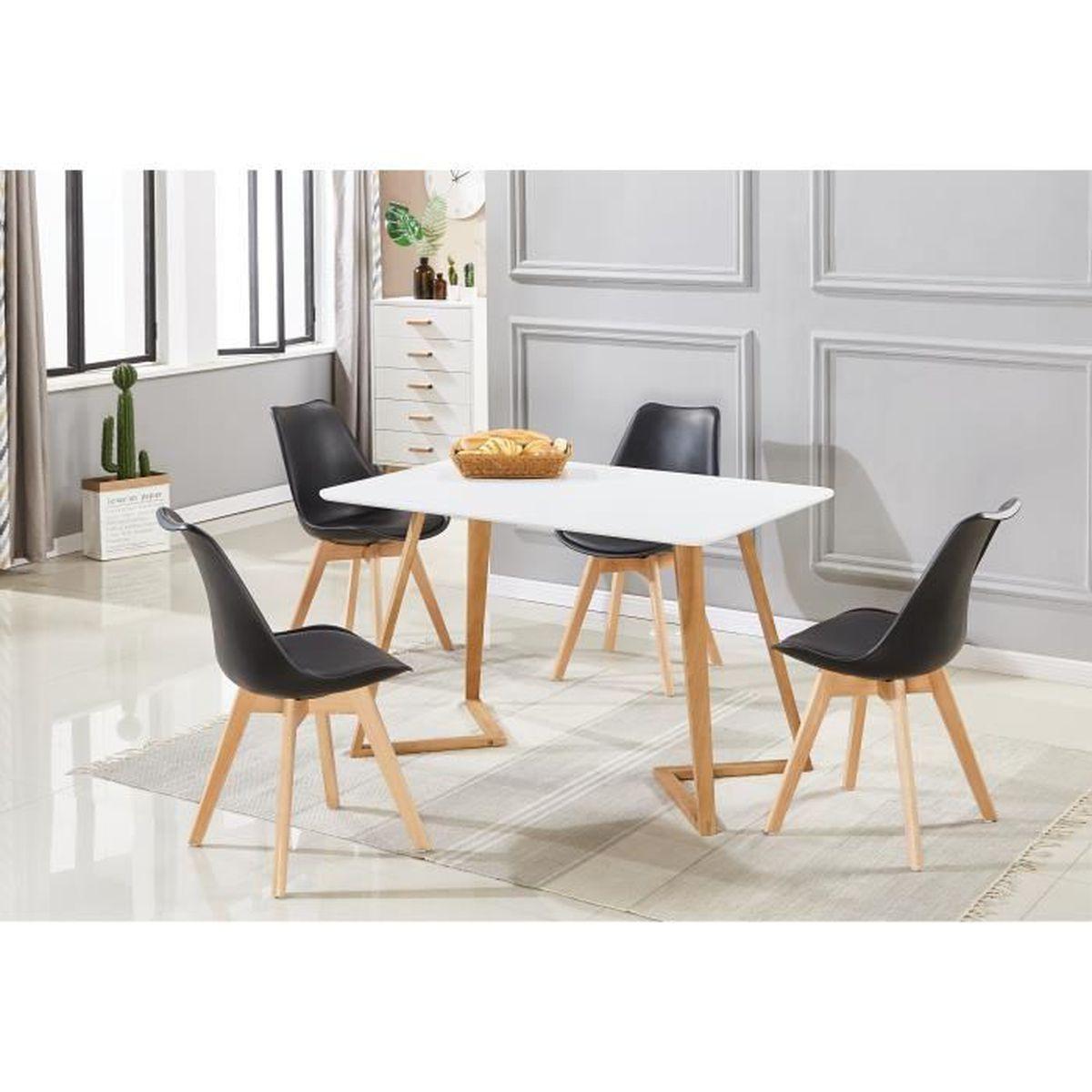 Table à Manger Blanche + 4 Chaises Scandinaves Noires - Ensemble ...