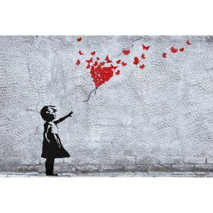 AFFICHE - POSTER Poster Filles - La Fille Au Ballon Rouge En Papill