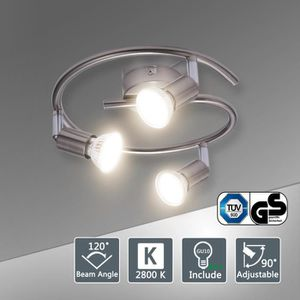 PLAFONNIER Bojim Plafonnier 3 Spots LED orientables ampoules