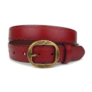 Ceinture en cuir à la mode par Ella Jonte rouge avec beau cuir gaufré et  jeans boucle pourchassé ceinture 5e74c3a16d9