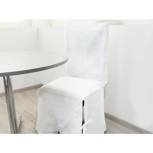 HOUSSE DE CHAISE Housse de chaise en coton PANAMA blanc. Unie et so