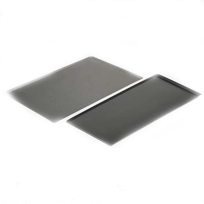 Plaque rectangulaire à bords pincés, en aluminium épais, recouverte du revêtement antiadhésifPLAQUE A PATISSERIE