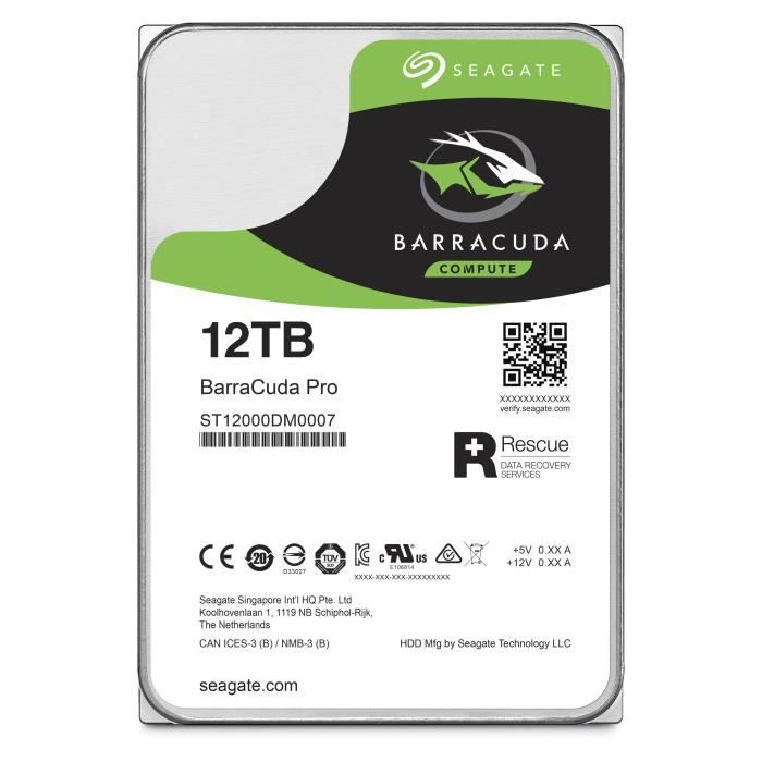 SEAGATE HDD Barracuda35 Pro 12To - SATA 7200 - ST12000DM0007