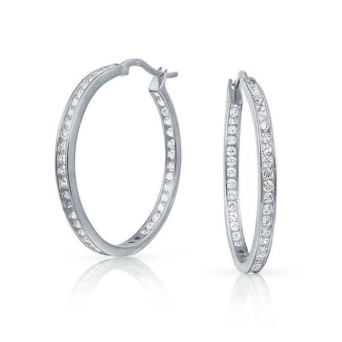 Bling Jewelry Sterling argent Canal défini à lintérieur de ronde Boucles dCZ