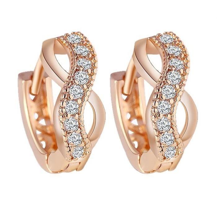 Boucles doreilles anneaux infini strass plaqué or rose