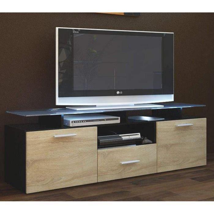 Meuble TV noir et bois brut 146 cm Achat Vente meuble tv