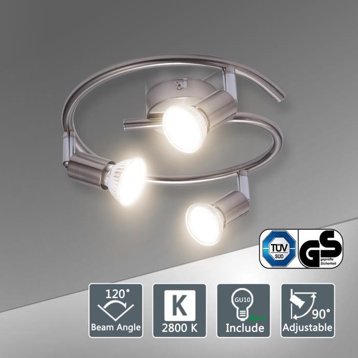 Bojim Plafonnier Spots Gu10 Blanc 6w Led Orientables 3 Ampoules CBodxe