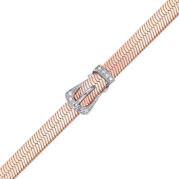 Jewelco London Plaqué Or Rose Argent Sterling Blanc Ronde brillant Zircone cubique Boucle de ceinture à chevrons Bracelet