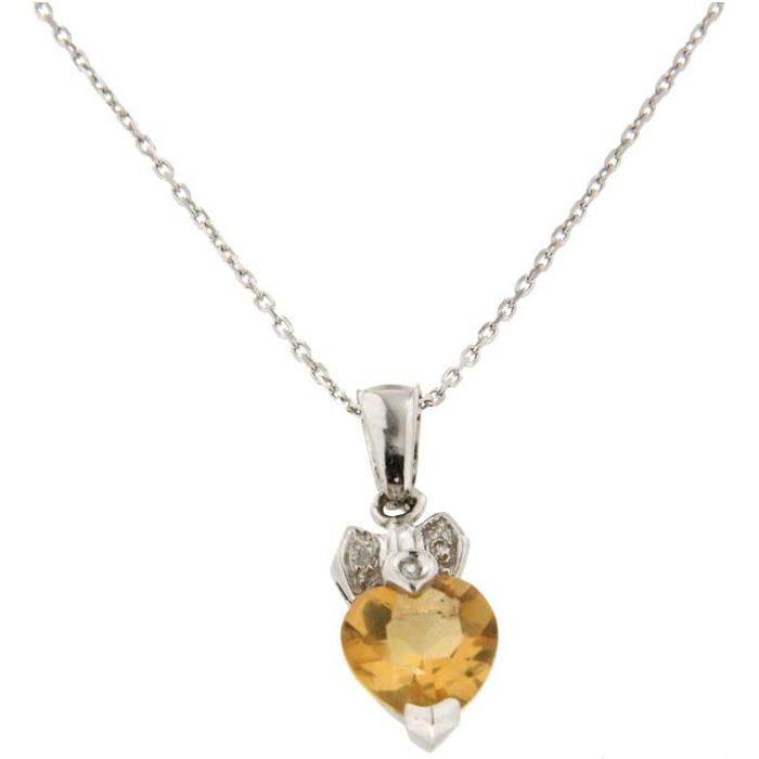pendentif c ur pierre jaune en or 18 carats cha ne offerte achat vente sautoir et collier. Black Bedroom Furniture Sets. Home Design Ideas