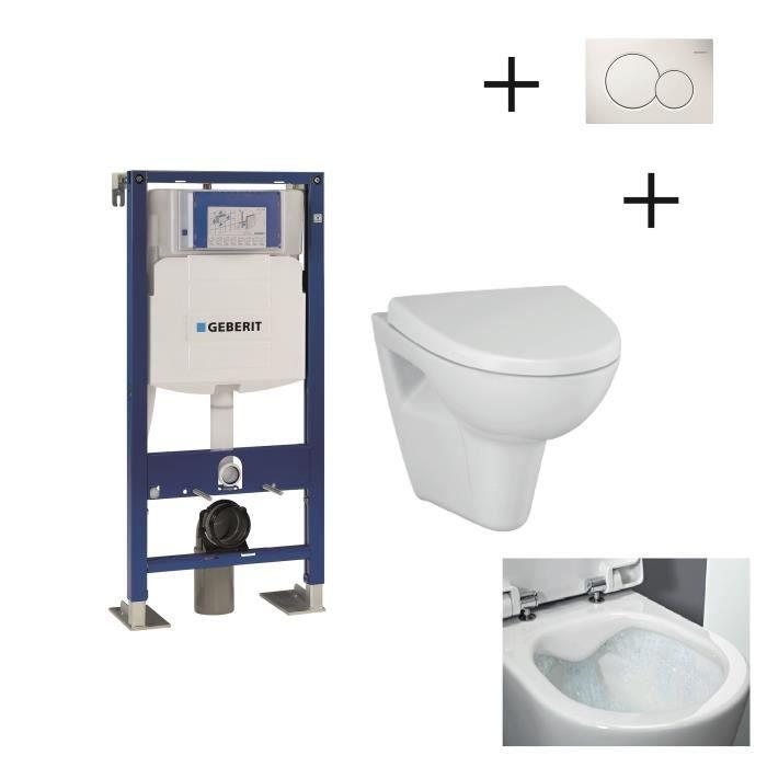 WC - TOILETTES Pack WC suspendu complet avec Bâti Support GEBERIT