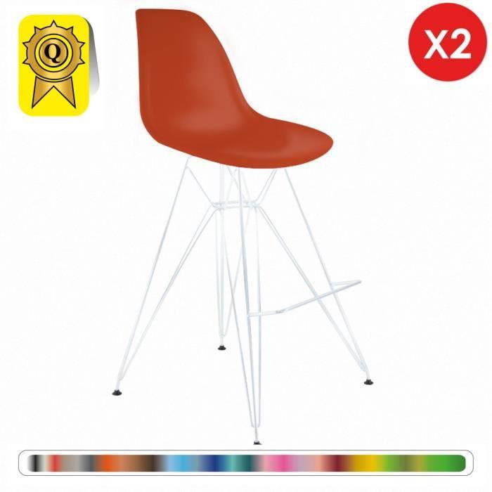 Eiffel 2 Vintage Haute Dp Dsrhw Ov Vernis Orange X Pieds 2p Inspiration Decopresto Design Tabouret Bar Acier Blanc Chaise 7yfb6g