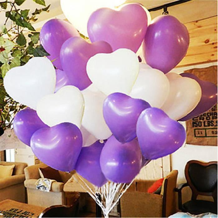 50 Pcsensemble Latex Solide Couleur Coeur Forme Ronde Ballons De Mariage De Fête Danniversaire Décorationblancviolet