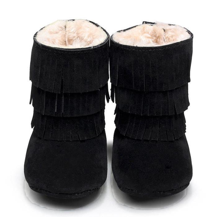 Bébé garder Chaud Double-deck Tassels Soft Sole Bottes de neige Soft Berceau chaussures Toddler Bottes