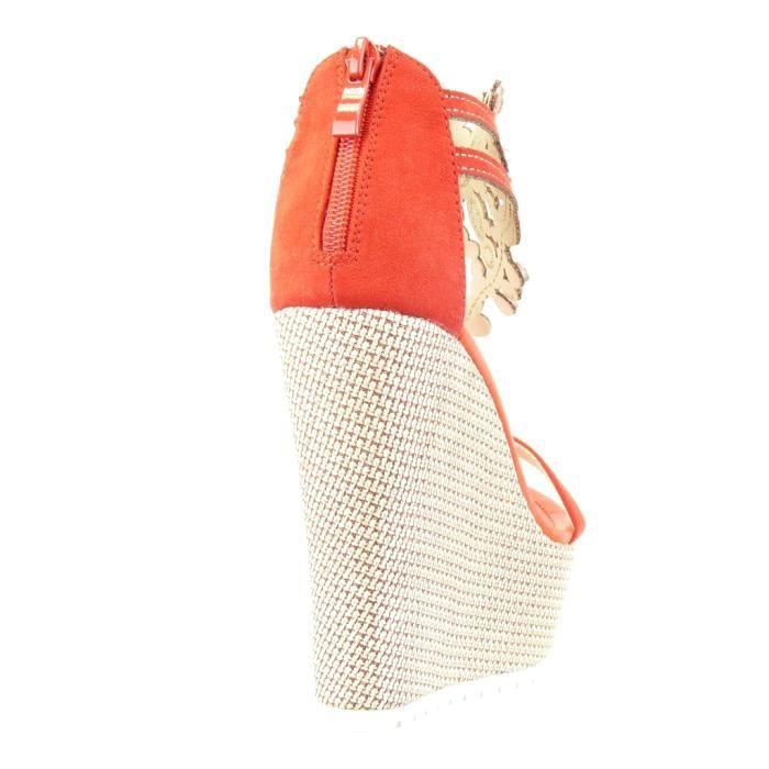 Angkorly - Chaussure Mode Sandale salomés plateforme femme bijoux brodé Talon compensé plateforme 13 CM - Rouge - 168-1 T5Antg