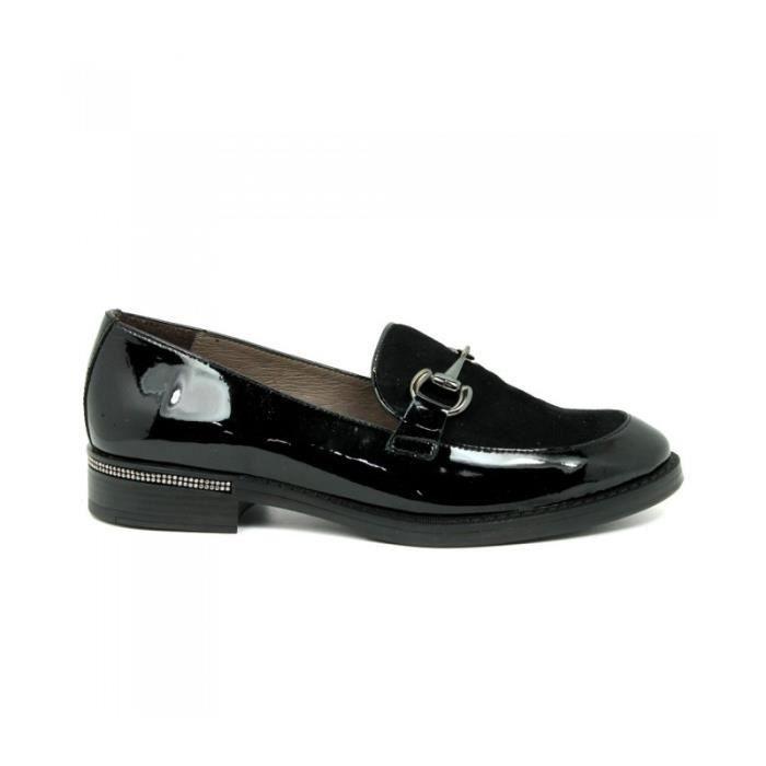WONDERS Chaussures Mocassin - Brillant - Cuir Verni Et Suede - Noir - Taille - Quarante-et-un Femme Ref. 1936_19091