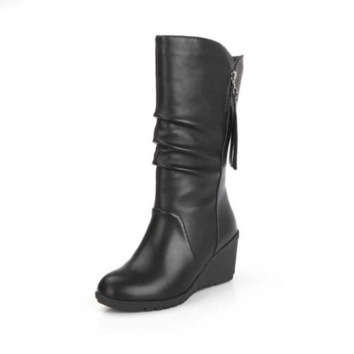 Napoulen®Femmes automne hiver chaudes coins haut talon bottes zippées Noir-CQQ70913347BK